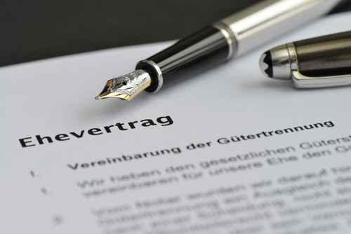Ehevertrag, Unterschrift, Notar, Heirat, Gtertrennung